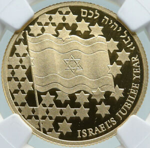 Click now to see the BUY IT NOW Price! 1998 ISRAEL JUBILEE 50TH ANNIVER FLAG   DAVID GOLD 10 NEW SHEKEL NGC COIN I87372