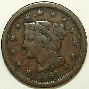 1845 BRAIDED HAIR LARGE CENT PIECE  CIRCULATED  GREAT SET FILLER 355