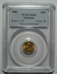 1903 PCGS MS63 $1 MCKINLEY LOUISIANA PURCHASE GOLD