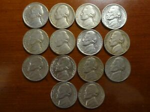 ALL  14  1938 42 PDS PRE WAR JEFFERSON NICKELS  INCLUDES 1939 D 1939 S & 1942 D