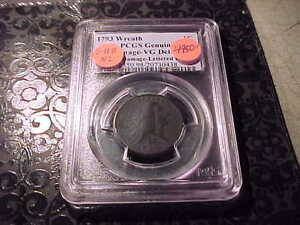 PCGS VG 8 DETAIL 1793 FLOWING HAIR WREATH LARGE CENT   LETTERED EDGE S 11B