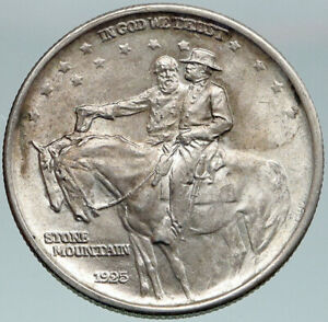 Click now to see the BUY IT NOW Price! 1925 USA STONE MOUNTAIN MEM GENERAL LEE & JACKSON SILVER HALF DOLLAR COIN I87500