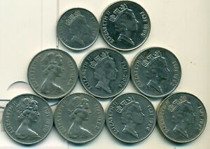 9   20 CENT COINS FROM FIJI  1980/1982/1985/1992/1996/1997/1998/2000/2009