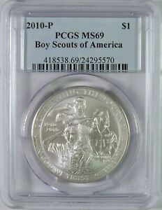 2010 P BU BOY SCOUTS OF AMERICA BSA COMMEMORATIVE SILVER DOLLAR $1 PCGS MS69