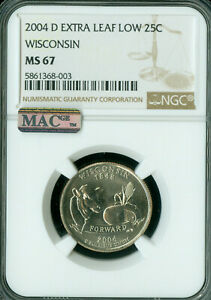 Click now to see the BUY IT NOW Price! 2004 D WISCONSIN STATE QUARTER NGC MS 67 PQ EXTRA LEAF LOW MAC SPOTLESS .