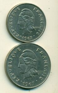 2 DIFFERENT COINS FROM FRENCH POLYNESIA   20 & 50 FRANCS  BOTH DATING 1967