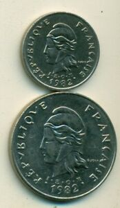 2 DIFFERENT COINS FROM FRENCH POLYNESIA   10 & 100 FRANCS  BOTH DATING 1982