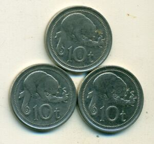 3 DIFFERENT 10 TOEA COINS W/ CUSCUS FROM PAPAU NEW GUINEA  2005 2006 & 2009