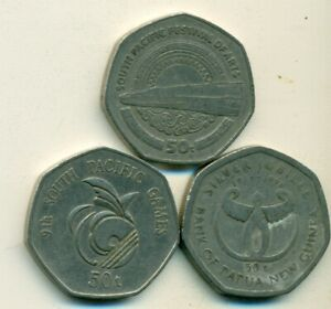 3 DIFFERENT 50 TOEA COINS FROM PAPAU NEW GUINEA   1980 1991 & 1998  3 TYPES