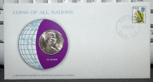 COINS OF ALL NATIONS FIJI 50 CENTS 1976 COIN & STAMP COVER SAILING CANOE
