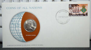 COINS OF ALL NATIONS SOLOMON ISLANDS 20 CENTS 1977 COIN & STAMP COVER