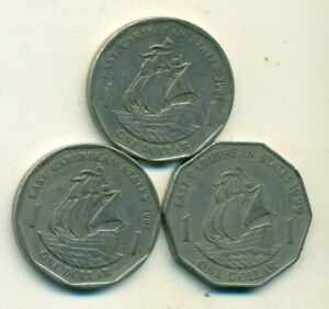 3   1 DOLLAR COINS W/ SHIPS..THE EAST CARIBBEAN STATES..1999 2002 & 2004