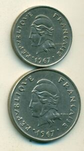 2 DIFFERENT COINS FROM FRENCH POLYNESIA   10 & 20 FRANCS  BOTH DATING 1967