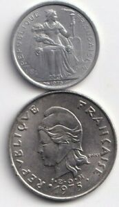2 DIFFERENT COINS FROM FRENCH POLYNESIA   1 & 20 FRANCS  BOTH DATING 1975