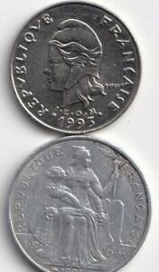 2 DIFFERENT COINS FROM FRENCH POLYNESIA   5 & 20 FRANCS  BOTH DATING 1993
