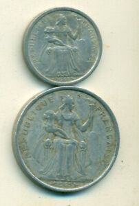 2 UNCIRCULATED COINS FROM FRENCH POLYNESIA   1 & 2 FRANCS  BOTH DATING 2003