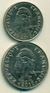 2 DIFFERENT COINS FROM FRENCH POLYNESIA   10 & 20 FRANCS  BOTH DATING 2010