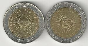 2 DIFFERENT BI METAL 1 PESO COINS FROM ARGENTINA  2 TYPES/2009 & 2013