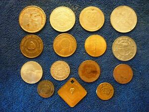 LOT OF 15 MISCELLANEOUS COLLECTABLE COINS & TOKENS