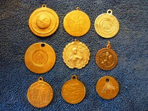 LOT OF 9 MISCELLANEOUS COLLECTABLE COINS TOKENS PENDENTS
