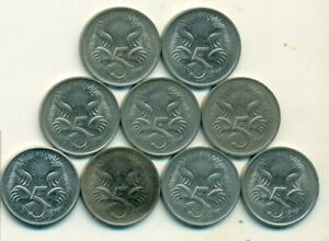 9 5 CENT COINS W/ ANTEATER FROM AUSTRAILA W/ CONSECUTIVE DATES OF 1976 TO 1984