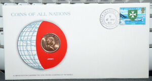 COINS OF ALL NATIONS JERSEY 2 NEW PENCE 1980 COIN & STAMP COVER