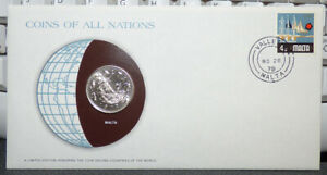 COINS OF ALL NATIONS MALTA 10 CENTS 1972 COIN & STAMP COVER W/ SHIP