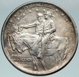 Click now to see the BUY IT NOW Price! 1925 USA STONE MOUNTAIN GENERALES LEE & JACKSON SILVER HALF DOLLAR COIN I87331