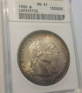 USA 1900 LAFAYETTE $1 ANACS MS 61  NICE TONING AND LUSTER