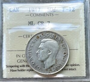 Click now to see the BUY IT NOW Price! 1947 ML CR 7 CANADA SILVER HALF DOLLAR 50 CENT COIN   ICCS F 12