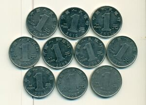10   1 YUAN COINS..THE PEOPLE'S REPUBLIC OF CHINA..CONSECUTIVE DATES 2004 2013