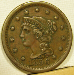 1856 BRAIDED HAIR LARGE CENT UPRIGHT 5 STRONG STRIKE    SHIPPING INCLUDED