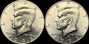1992 P&D KENNEDY HALF DOLLARS BEAUTIFUL COINS FAST SHIPPING