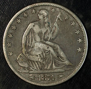 1874 P W/ARROWS SEATED LIBERTY SILVER HALF DOLLAR  GREAT FOR SETS 323