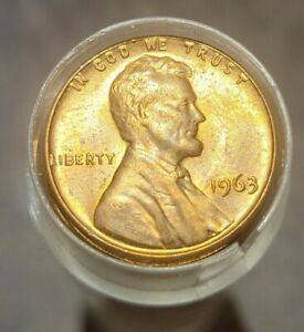 1963 LINCOLN MEMORIAL CENT BU ROLL UNC GEM MS 50 COINS TOTAL