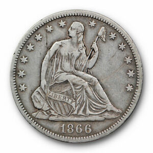 1866 S NO MOTTO SEATED LIBERTY HALF DOLLAR EXTRA FINE XF DETAILS KEY DATE