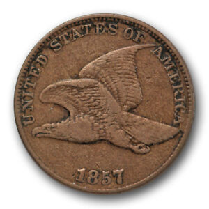 1857 FLYING EAGLE CENT FINE TO EXTRA FINE SNOW 9 S 9 CLASHED WITH 50C 8422