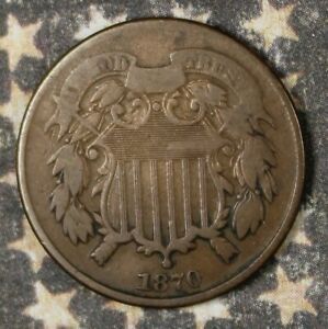 1870 2 CENT PIECE COPPER COLLECTOR COIN