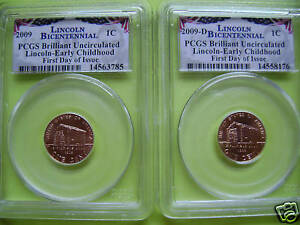 2009 LINCOLN P&D PCGS BRILLIANT UNCIRCULATED EARLY CHILDHOOD FDI 2 COIN SET