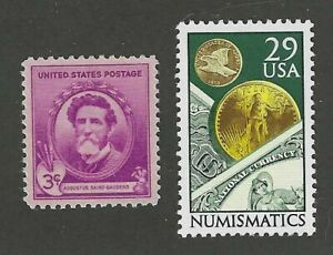 AUGUSTUS SAINT GAUDENS & $20 GOLD COIN ON SET OF 2 U.S. POSTAGE STAMPS