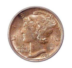 Click now to see the BUY IT NOW Price! 1925 D 10C ICG MS 66   MERCURY DIME WITH NEAR FULL BANDS