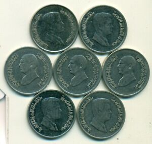 7 DIFFERENT 5 PIASTRE COINS FROM JORDAN  1993/1996/1998/2000/2006/2008/2009