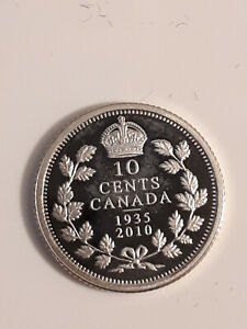 2010 SILVER PROOF DIME IN CAPSULE  FROM 1935 2010 ANNIVERSARY LE SET