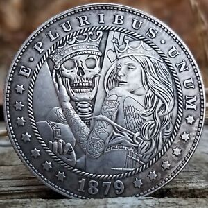 1879 FANTASY TATTOO PRINCESS MORGAN SILVER DOLLAR COIN ART  SKELETON KING