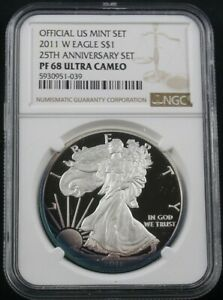 Click now to see the BUY IT NOW Price! 2011 W AMERICAN SILVER EAGLE 25TH ANNIVERSARY SET NGC PF 68