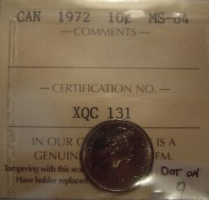 CANADA ELIZABETH II 1972 DOT ON 9 TEN CENTS   ICCS MS 64  XQC 131