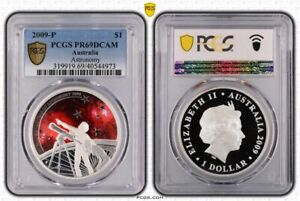 Click now to see the BUY IT NOW Price! 2009 PERTH ASTRONOMY $1 COLOURED SILVER PROOF COIN PCGS PR69DCAM TOP POP 3/0