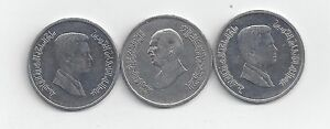 3 DIFFERENT 5 PIASTRE COINS FROM JORDAN  1998 2006 & 2009