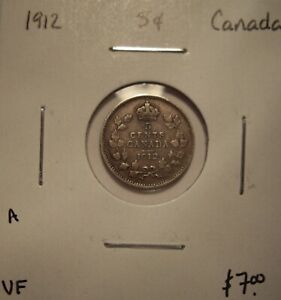 A CANADA GEORGE V 1912 SILVER FIVE CENTS   VF