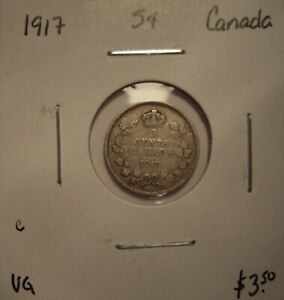 C CANADA GEORGE V 1917 SILVER FIVE CENTS   VG